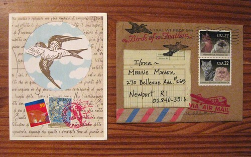 Birds of a feather handmade card with envelope