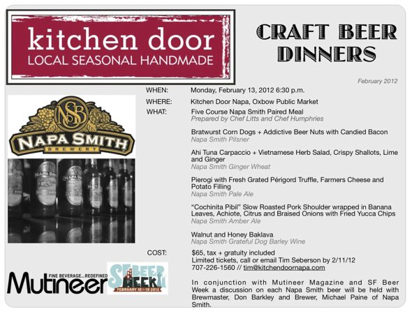 Kitchen Door Craft Beer Dinner with Napa Smith Brewery