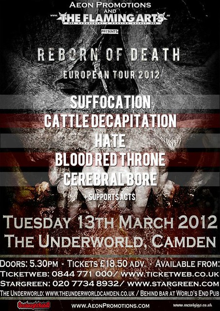 Suffocation live in london march 2012 cerebral bore hate blood red throne cattle decapitation