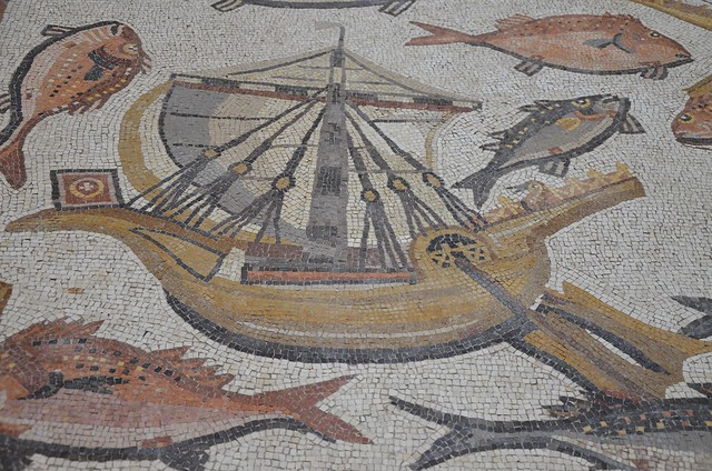 Detail of the Lod Mosaic,  a Roman merchant ship with red and white flags on their bows, mosaic believed to belong to a large and well-appointed Roman house and is dated to about A.D. 300, found in Lod, Israel