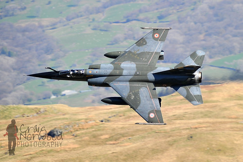 French Mirage F1 flying through the Mach Loop in Wales