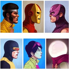 "Here are a few of Mike Mitchell's Marvel Portraits from ""Mike Mitchell x Marvel x Mondo"" opening this Friday at 7pmore at www.CultCollective.co.uk #Marvel #marvelcomics #JLU #Justlikeus #portraits #Thor #Mysterio #Venom #Hawkeye #Mondo #Mondotees #mikemit"