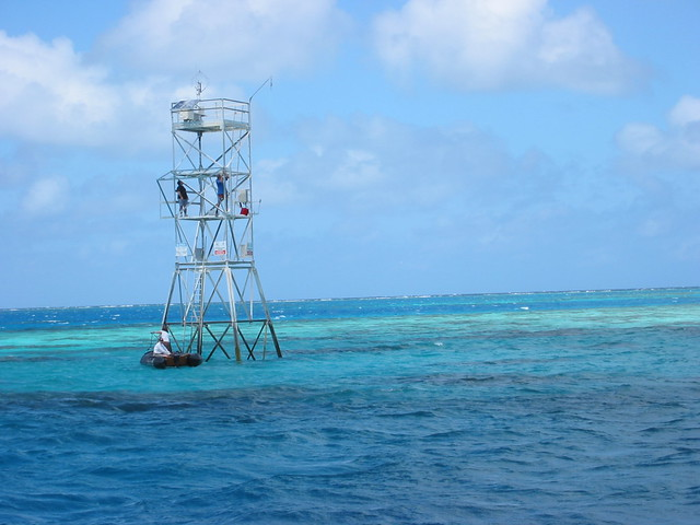 Davies Reef weather station powered by solar panels collects the continuous stream of readings from the reef and sends them back to AIMS