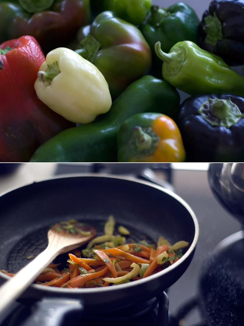 Pimentos e legumes salteados