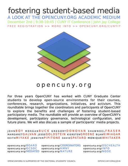 OpenCUNY.org Roundtable on Fostering Student-Based Media @ CUNY IT Conference