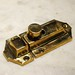 "Latch base: 1-3/8"" x 2-3/8"" Catch: 1-3/8"" x 15/16""  Material: solid-brass  Finish: polished-brass (unlacquered) * custom finishes available upon request (including satin-brass, aged-brass, antique-brass, oil-rubbed-bronze, satin-nickel, pewter, polished-nickel, satin-chrome, polished-chrome, black, etc.)  Please contact us for current availability and pricing  <a href=""http://www.thedoorstore.ca"" rel=""nofollow"">www.thedoorstore.ca</a>"
