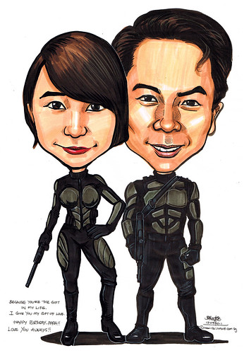 G.I.Joe caricatures of Snake Eyes and Scarlett