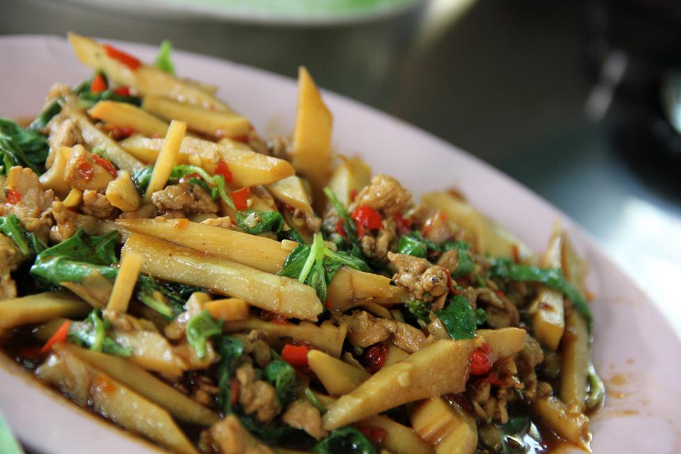 Pork And Bamboo Shoot Stir Fried With Thai Holy Basil