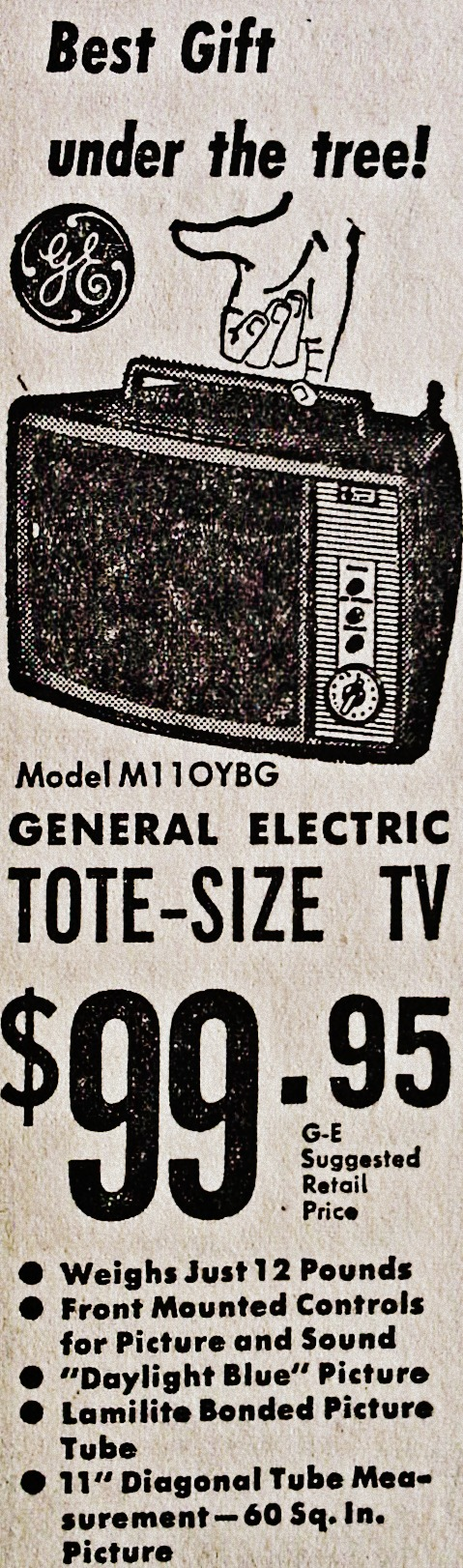 1963 Portable GE Television