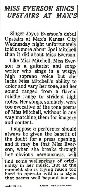 06-09-72 NYT Review - Joyce Everson @ Max's Kansas City