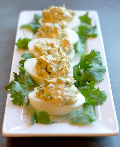 Sriracha Cilantro Scallion Deviled Eggs by Eve Fox, Garden of Eating blog, copyright 2011