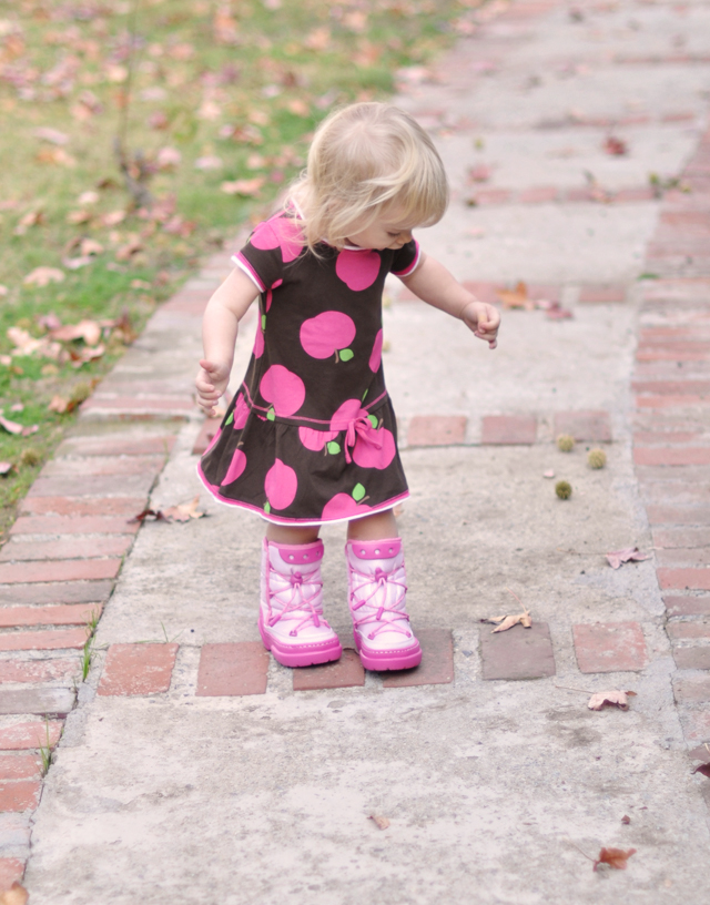 delilah-pink boots and apple dress