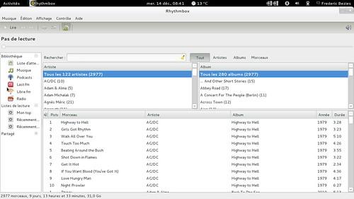 rhythmbox - près de 3000 morceaux !
