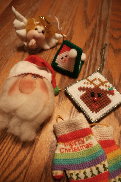 Found Ornaments, vintage fluffies