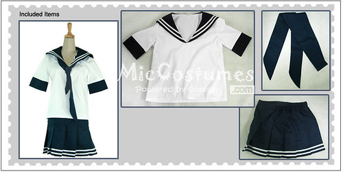 White And Deep Blue School Uniform_1