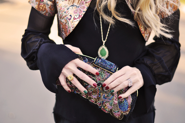 details-accessories -  vintage  beaded clutch-rings-nails-necklace