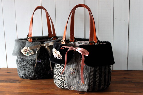 tweed bag_black gray & black black