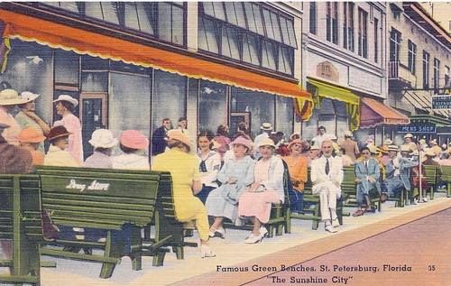 "Postcard: Famous Green Benches, St. Petersburg, Florida ""The Sunshine City"""