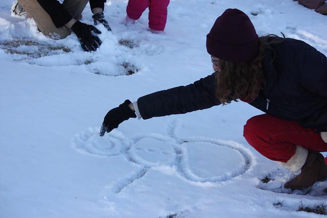 Sara and snowman