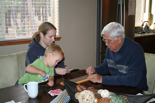 Cribbage--Melissa skunked Grandpa on his birthday weekend!