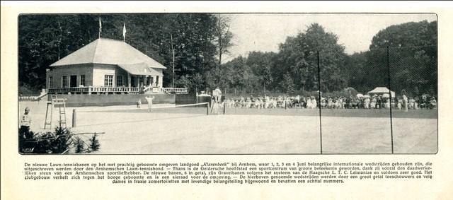 De nieuwe tennisbanen op Klarenbeek, 1916