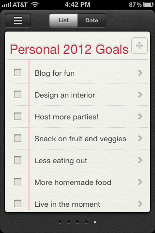 Jeanine Hays 2012 Personal Goals