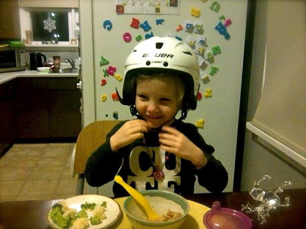 Zed with dinner helmet