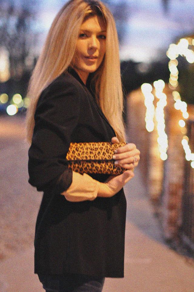 grainy photo- straight hair-leopard print clutch-black blazer