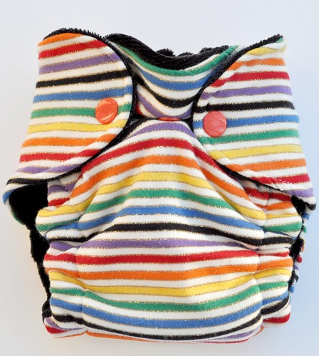 Bumstoppers Newborn Stripey Black Rainbow Fitted