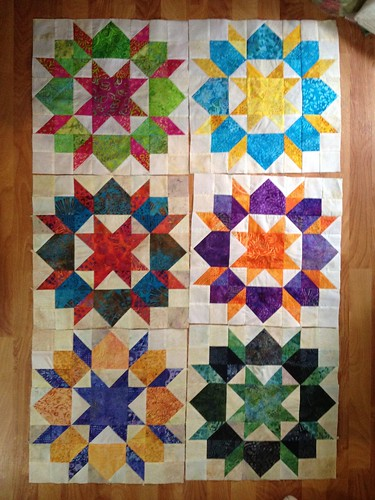 "16"" scrappy Swoon blocks made with charm squares"