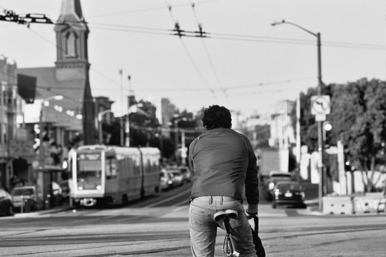 Bicyclist and public transit (Muni) in San Francisco