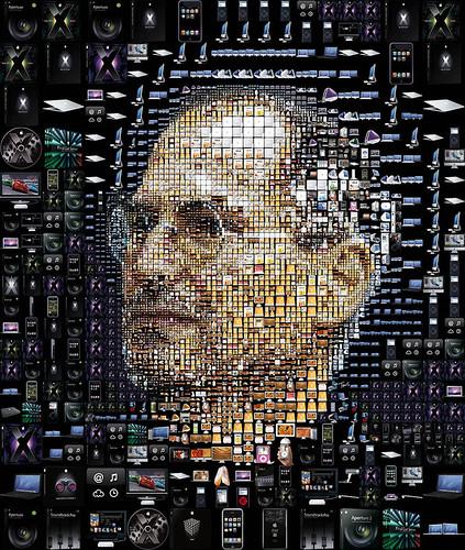 Cara de Steve Jobs con sus productos