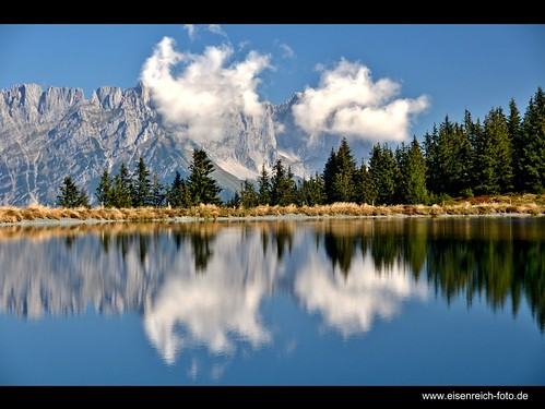 blue trees sky lake alps reflection clouds prime austria see tirol photo ic foto fotografie image hans award himmel wolken going heike getty kaiser alpen blau bergsee landschaft bäume spiegelung tyrol wilder 2012 reise gettyimage ellmau reisefotografie poststrasse landschaftsfotografie schmidmühlen kaisergebirge flickraward eisenreich reisefoto mygearandme tanzbodensee eijomian landschftsfoto