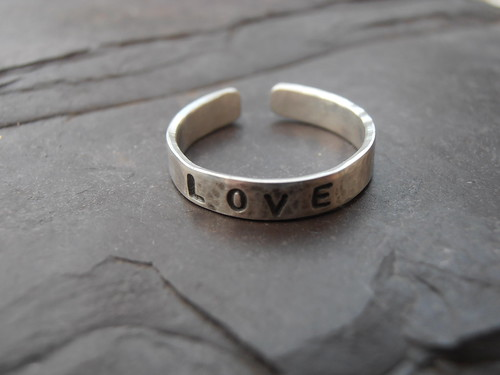 Love stamped ring by greensladejenny