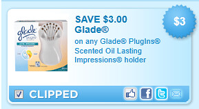 Glade Plugins Scented Oil Lasting Impressions Holder Coupon
