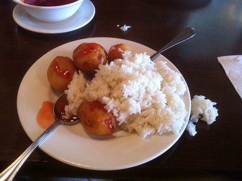 Sweet and Sour Chicken Balls with Coconut Rice by raise my voice
