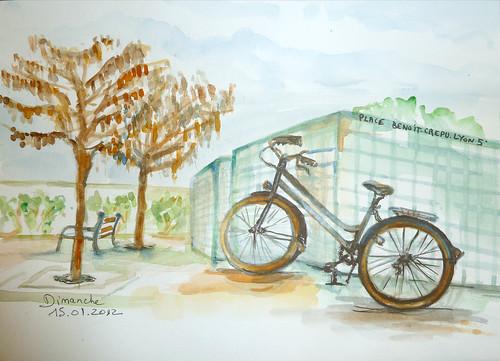 un vélo dans la ville de Lyon