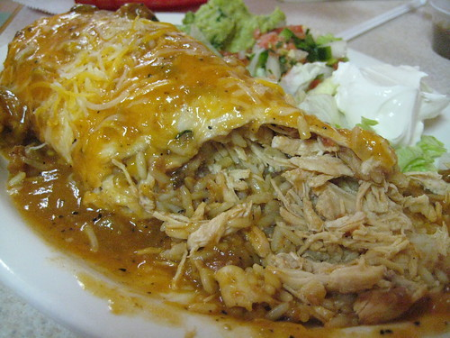 The Guts of a Chicken Burrito at Chris' Restaurant