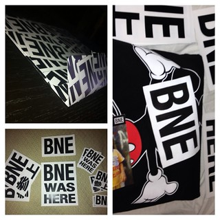 BNE T-shirt and stickers.