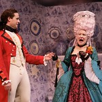 Mrs. Malaprop (Mary Louise Wilson) tells Captain Jack Absolute (Scott Ferrara) she cannot comprehend why someone is saying such awful things about her vocabulary in the Huntington Theatre Company's production of