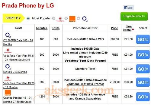 PRADA phone by LG 3.0 pricing