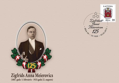 Latvijas pirmā ārlietu ministra Z.A.Meierovica 125.dzimšanas dienas atceres speciālā aploksne