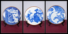 Three product shots of antique blue and white china plates
