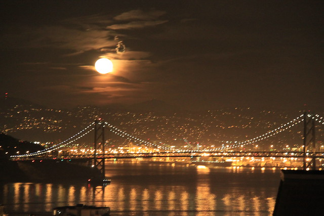 moon over the bay bridge