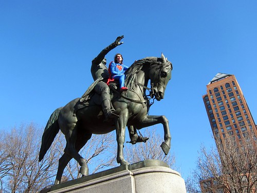 Superman saddles up with George Washington in Union Square Park