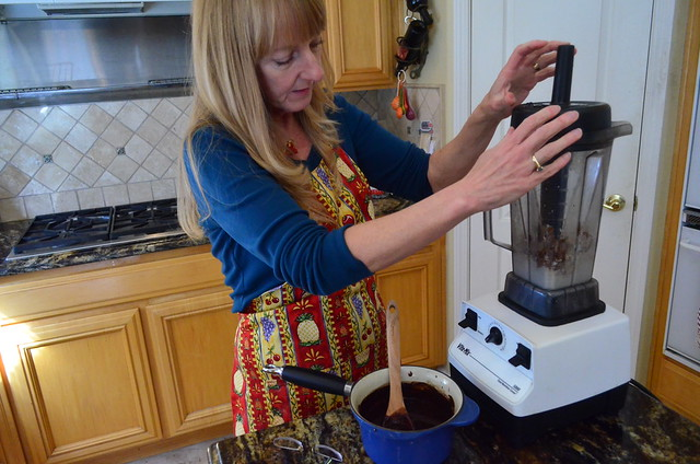 Marj preparing the blender.