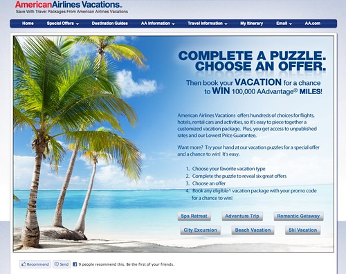 Screenshot of American Airlines Vacations Promotion