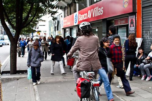 Cicloruta en el centro de Bogotá