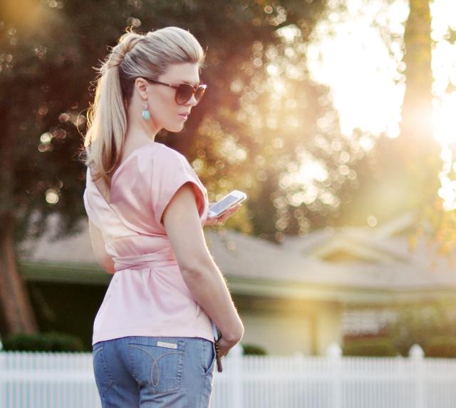 twisted ponytail - pink satin-calvin klein jeans