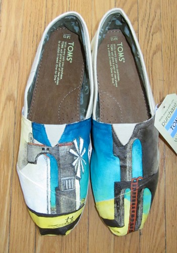 Custom-painted scene on TOMS shoes